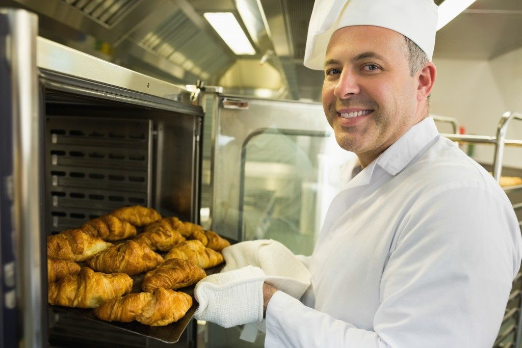 a chef baking
